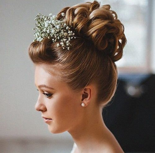 40 curly updo with pompadour bangs for shorter hair