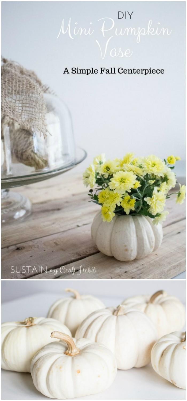 43 DIY Mini Pumpkin Floral Vase