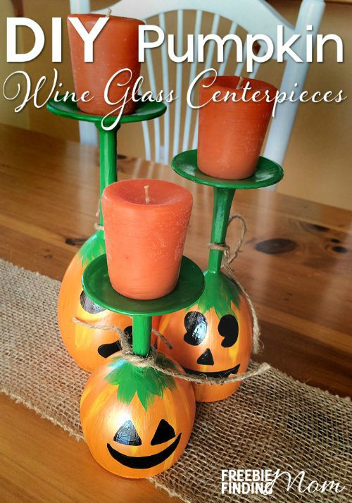 44 DIY Pumpkin Wine Glass Centerpieces