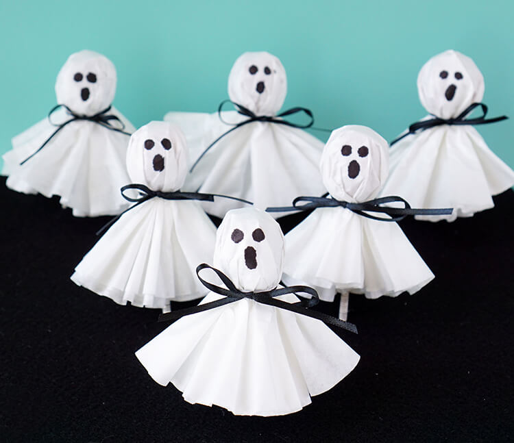 45 Coffee Filter Ghost Lollipops