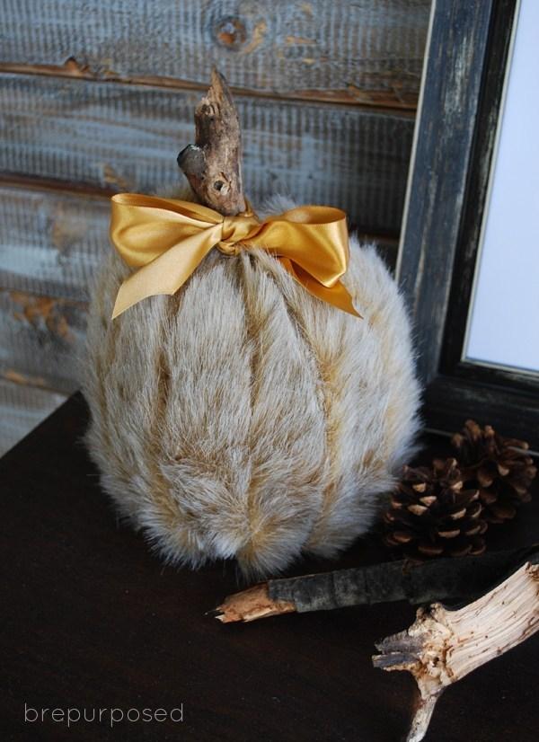 47 Faux Fur Covered Pumpkins