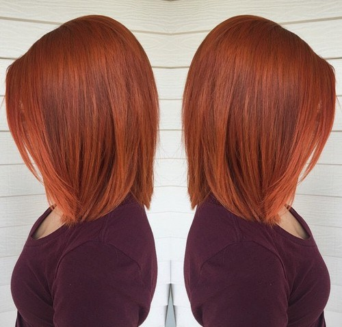 5 copper lob hairstyle