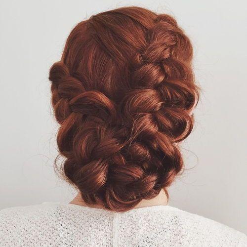 5 low elegant updo with dutch braids