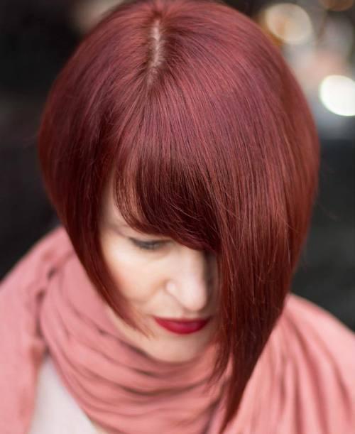 5 short mahogany red asymmetrical bob