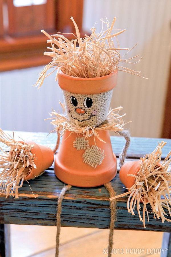 6 A Fall DIY Terracotta Scarecrow