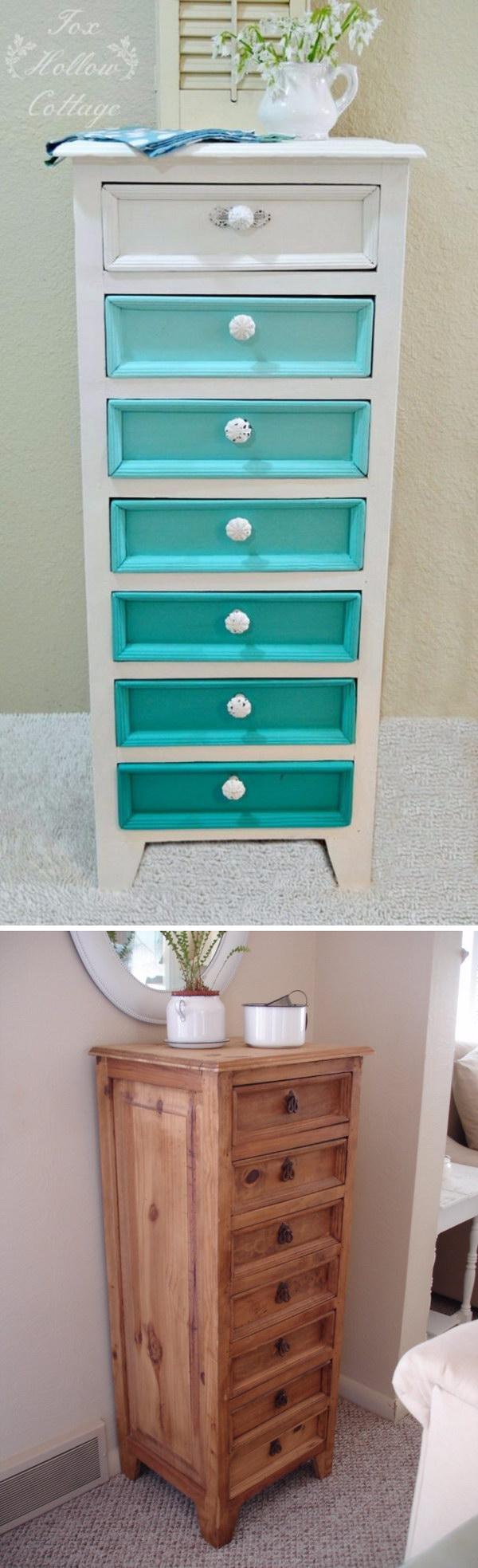 6 Aqua Ombre Painted Dresser Makeover