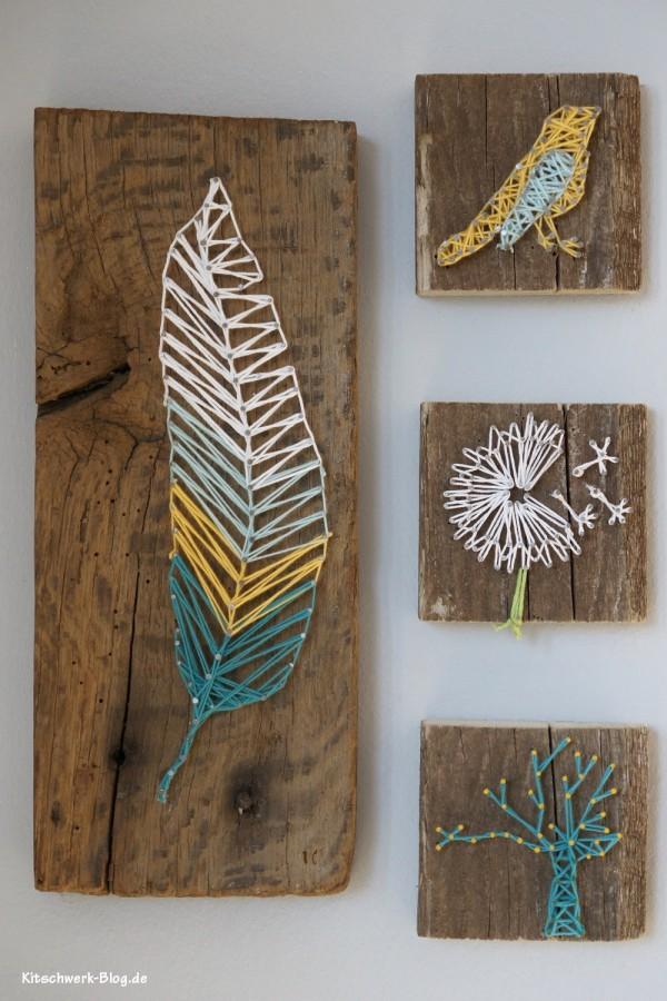 6 DIY Nagel und Faden Bild String Art