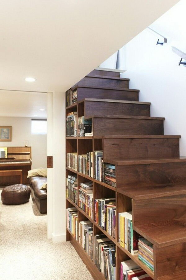 6 Display Your Book Collection under the Stairs