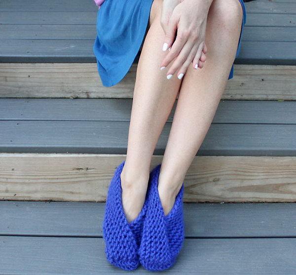 6 Easy Foldover Slippers(Knitting Pattern)