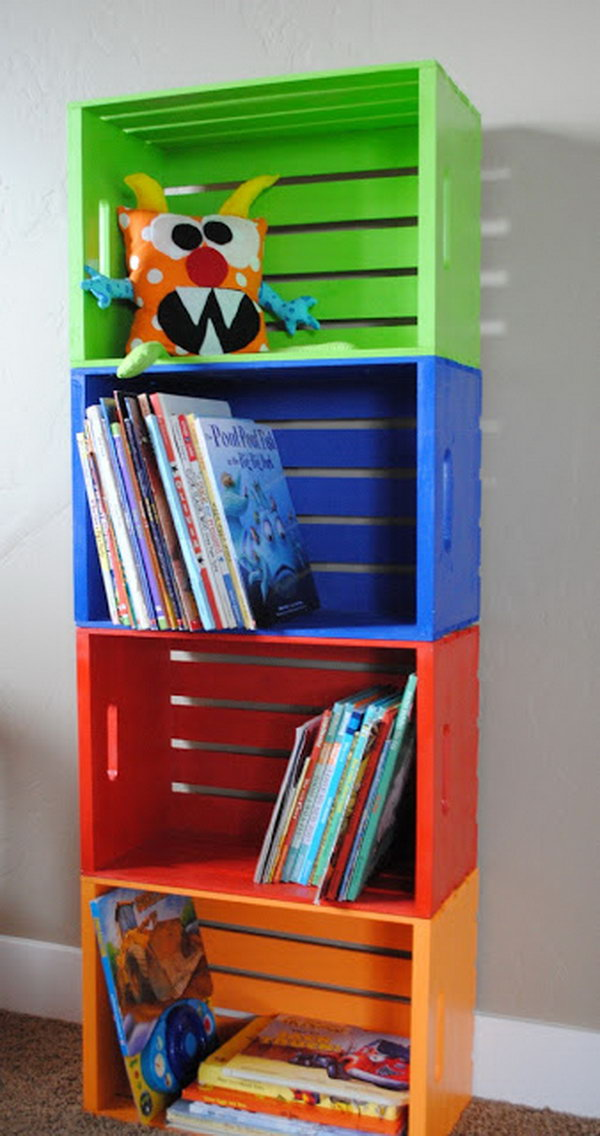 6 Multi-color Painted Wooden Crates Bookcase