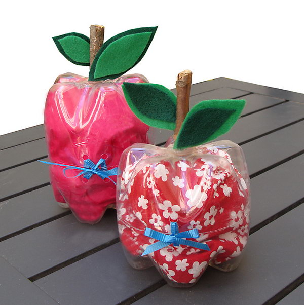 6 Plastic Bottle Apple Containers