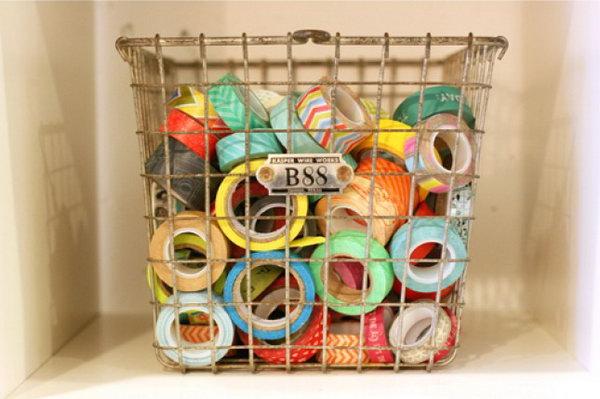 6 Vintage Wire Basket Used as Washi Tape Storage