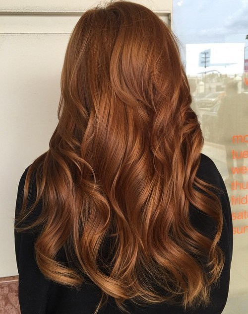 6 long wavy copper hairstyle