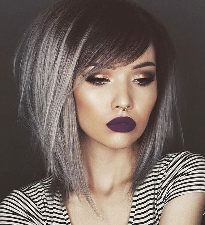 6 medium black hair with gray balayage