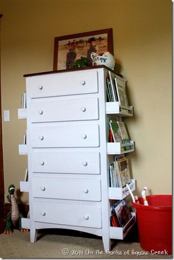 7 DIY Bookshelf Made with the Sides of a Dresser and IKEA Spice Racks
