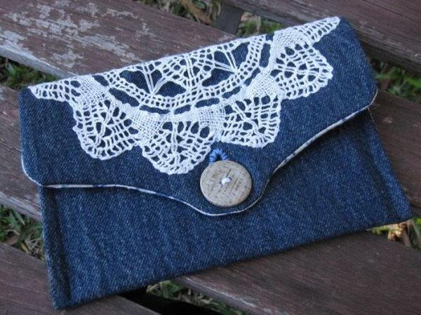 7 DIY Lace Denim Clutch