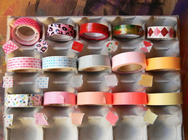7 Egg Carton Washi Tape Storage System