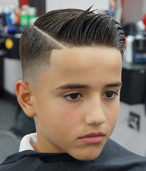 7 boys fade with shaved side part
