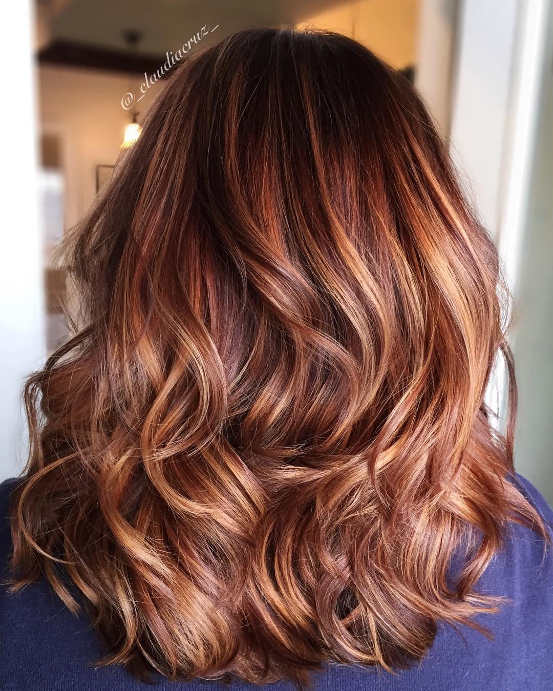 7 burgundy hair with caramel highlights