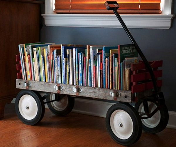 8 DIY Wagon Bookshelf