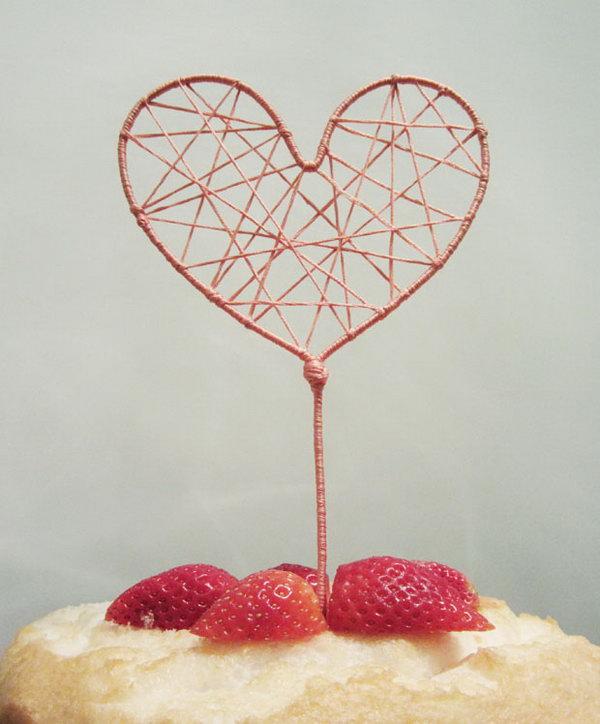 8 String Art Heart Cake Topper