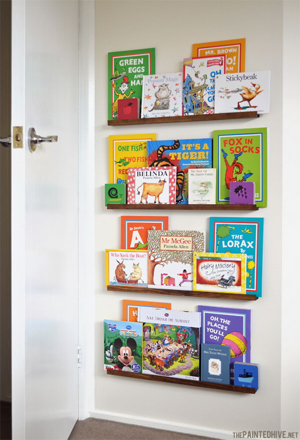 9 DIY Floating Bookshelves behind the Door