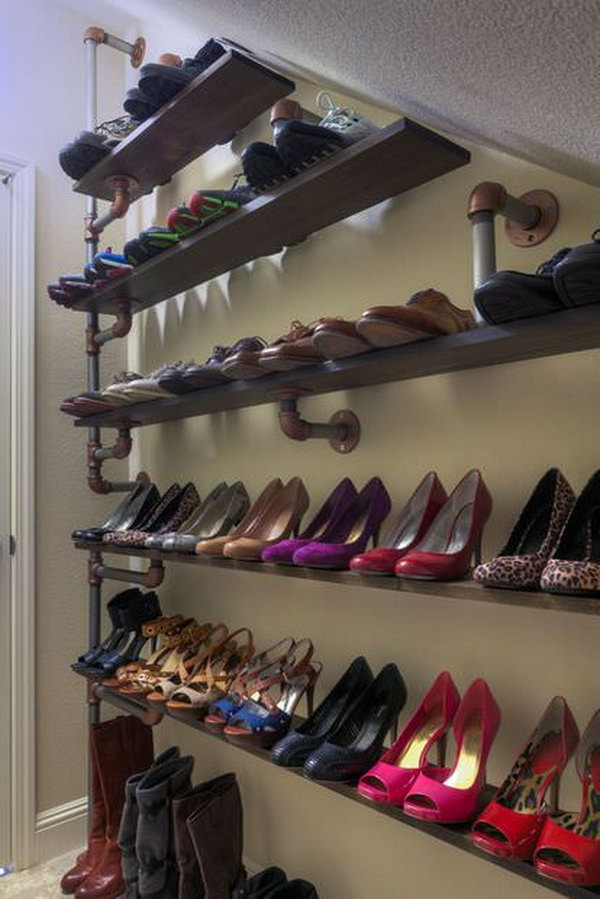 9 Industrial Pipe Shelving for Under-stairs Shoe Storage