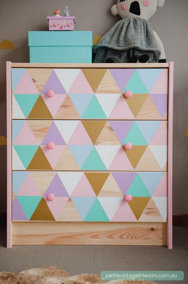 9 Rainbow Painted Dresser