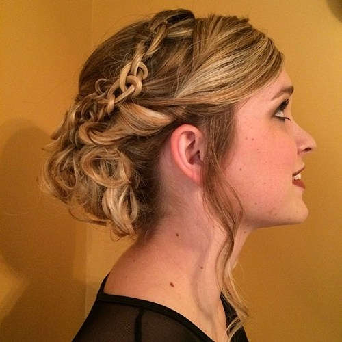 9 curly updo with a chain braid