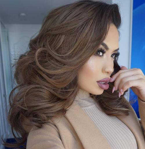 9 voluminous downdo for brown hair
