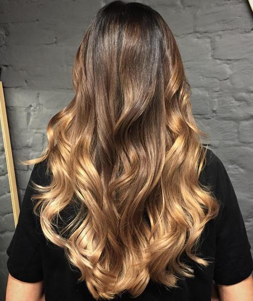 1 brown to blonde long ombre hair