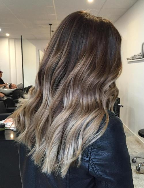 11 dark brown hair with ash blonde ombre highlights