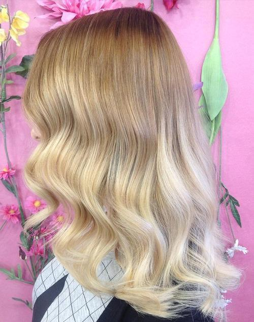 12 light brown to blonde ombre