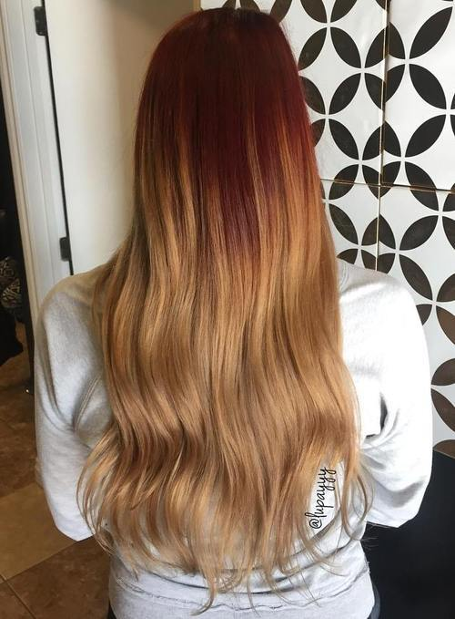 13 red to caramel ombre