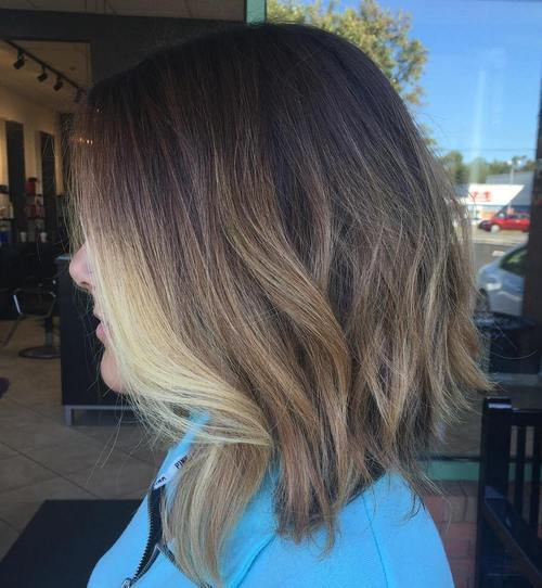 4 dark brown lob with light brown and blonde ombre highlights