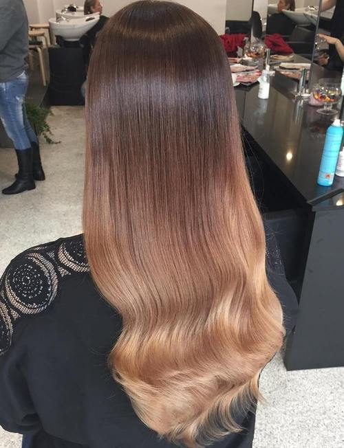 8 dark brown to caramel ombre