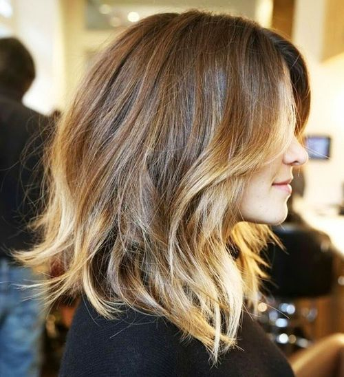1 long brown bob with golden brown balayage