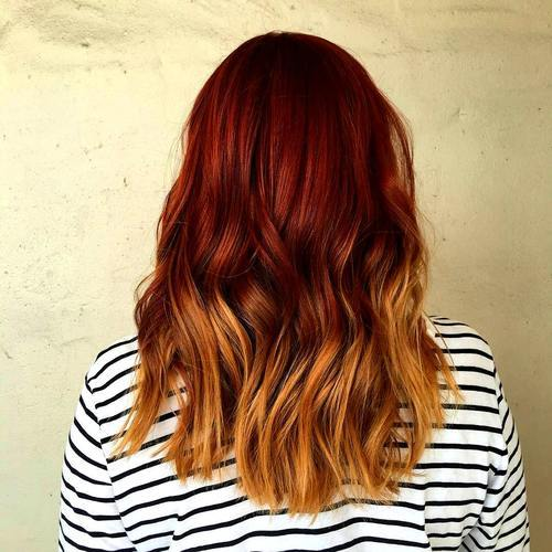 1 medium red to golden blonde ombre hair