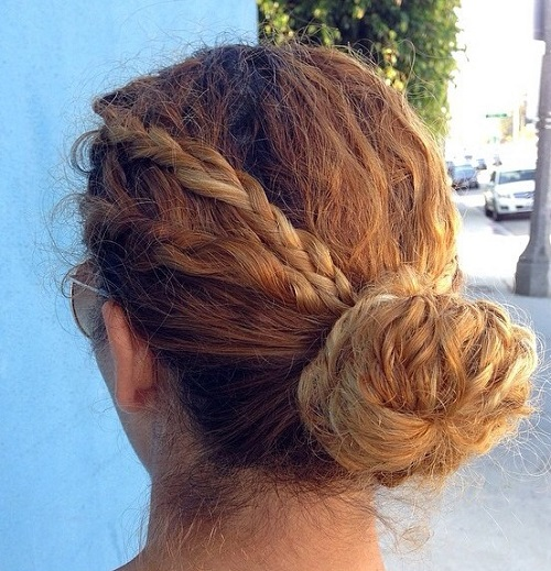 10 bun with braids for curly hair