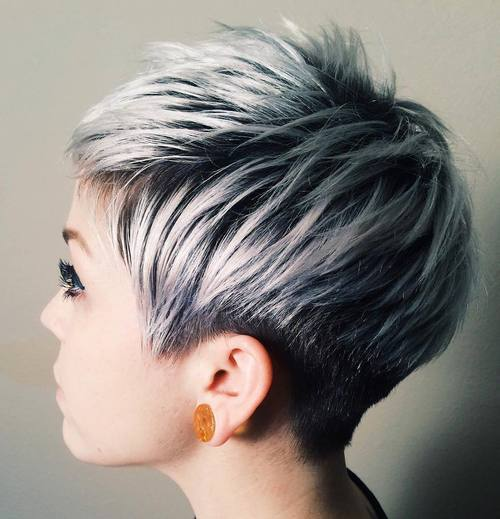 10 short black pixie with ash blonde balayage