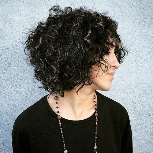 12 black curly bob with gray highlights