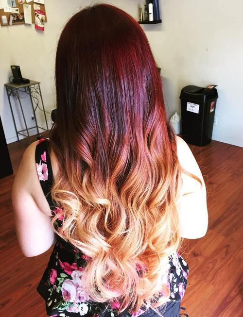 13 brown to blonde ombre with red balayage