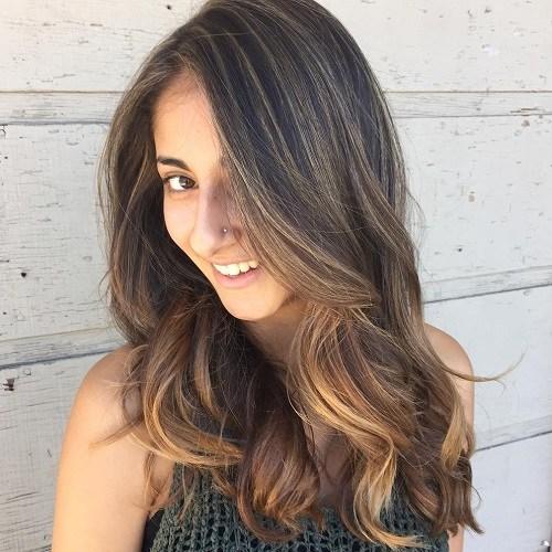 13 dark brown hair with light brown balayage