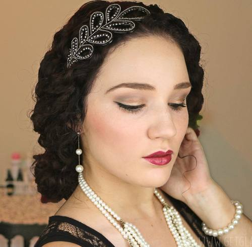 13 low vintage updo for curly hair