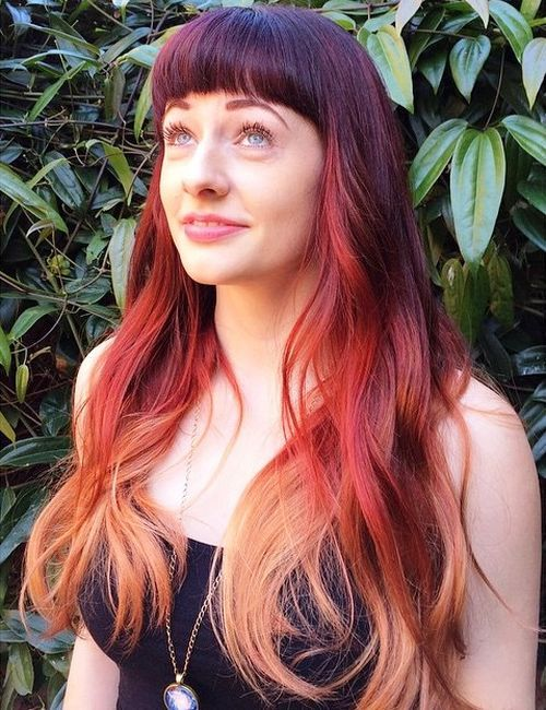 14 burgundy ombre hair with bangs