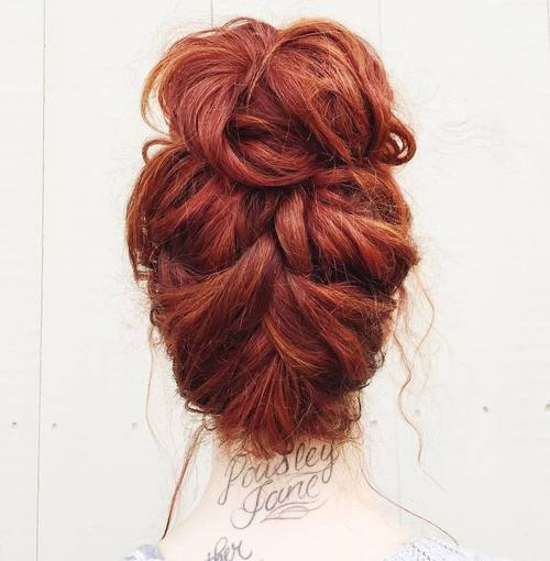 14 messy braid into bun updo for thick hair