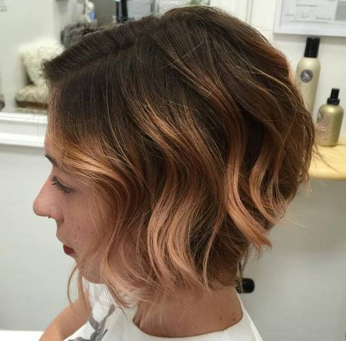 15 light copper balayage for short brown hair