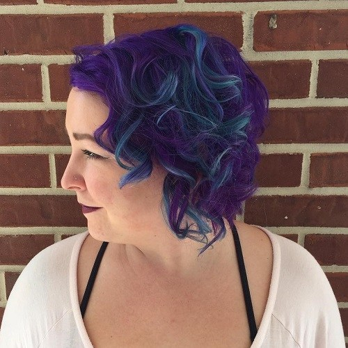 16 blue and purple curly bob