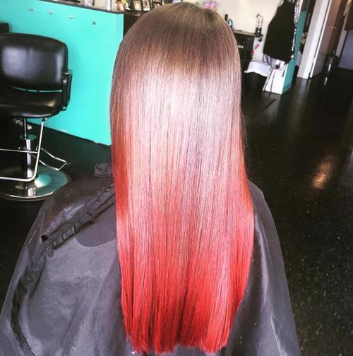 16 medium brown to red ombre