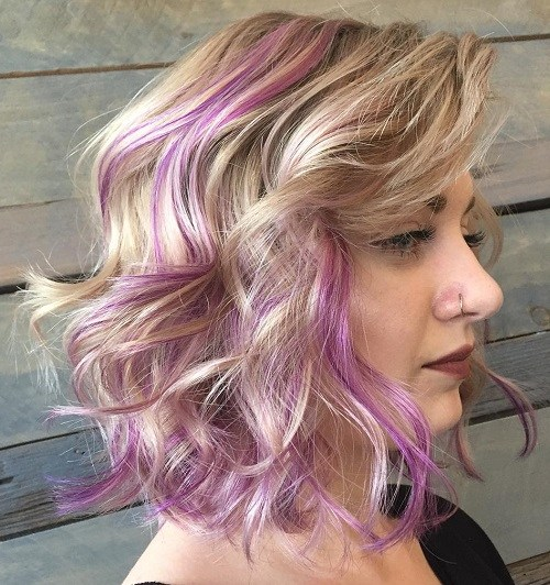 17 blonde wavy lob with lavender highlights